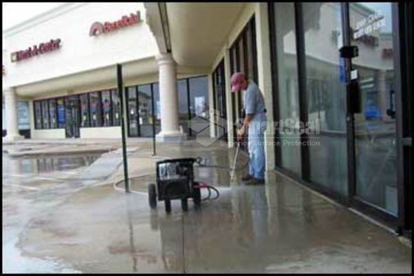 Shop forecourt during cleaning