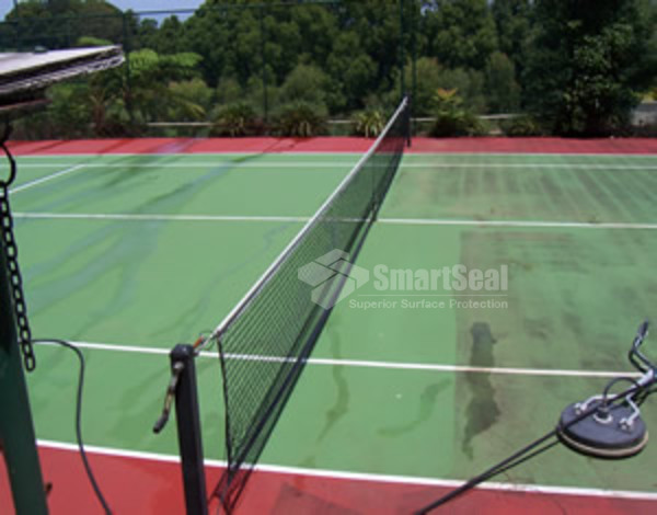 Tennis court during cleaning